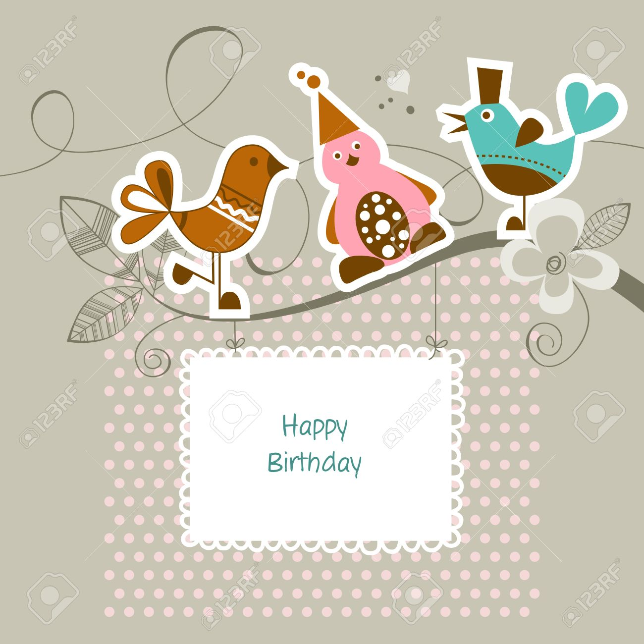 Funny Friends On A Tree Branch Happy Birthday Card Royalty Free