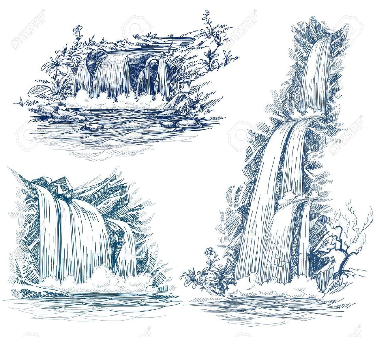 Water falls drawing Stock Vector - 13941250