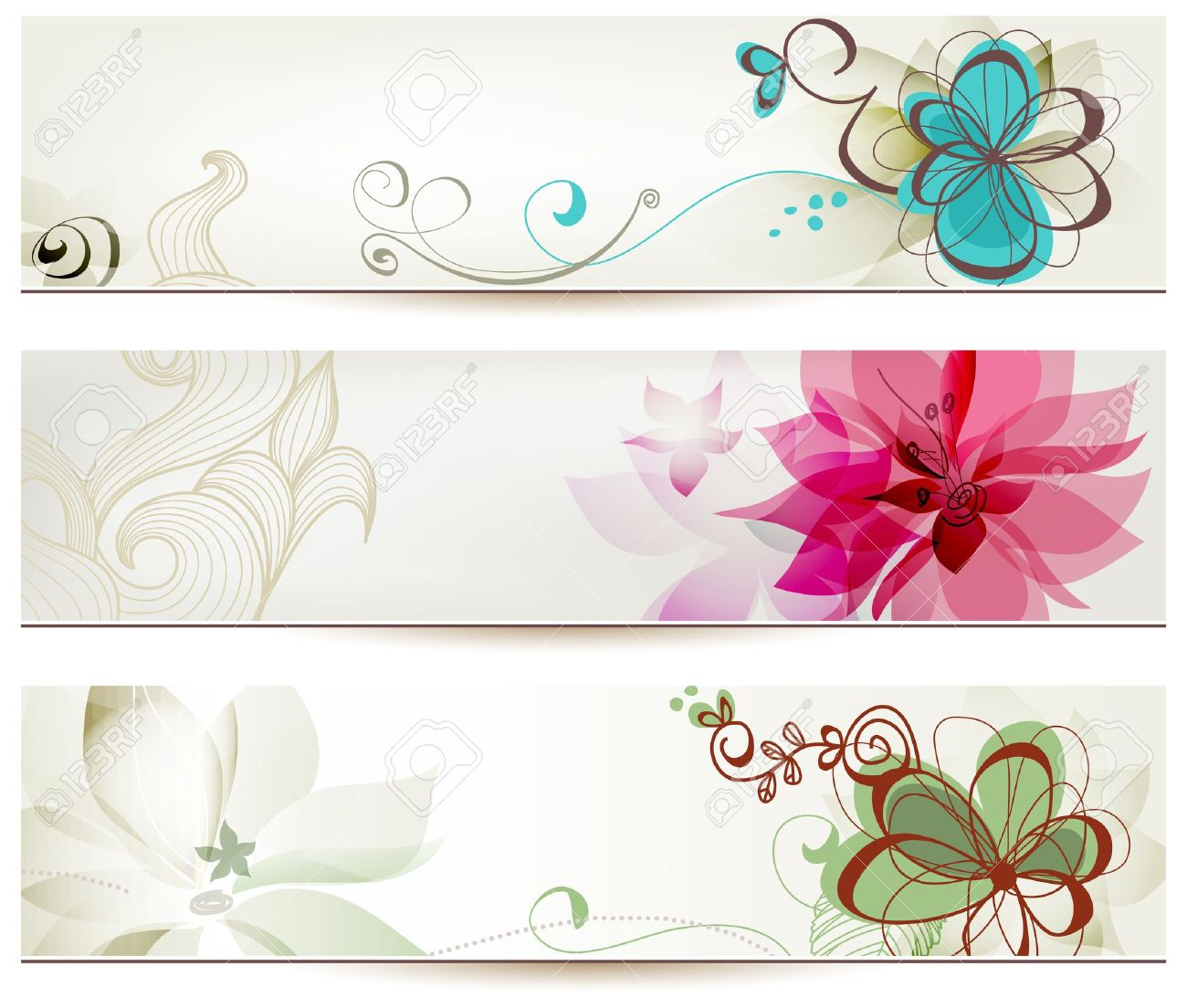 Floral banners in retro style - 14238583
