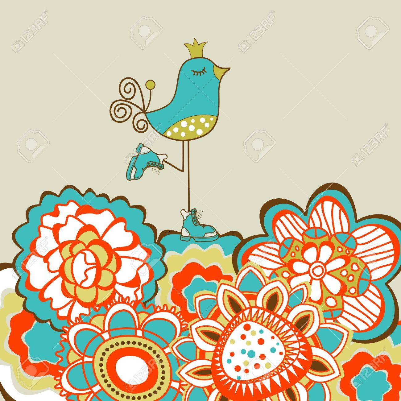 Floral Garden And Cute Bird Royalty Free Cliparts Vectors And