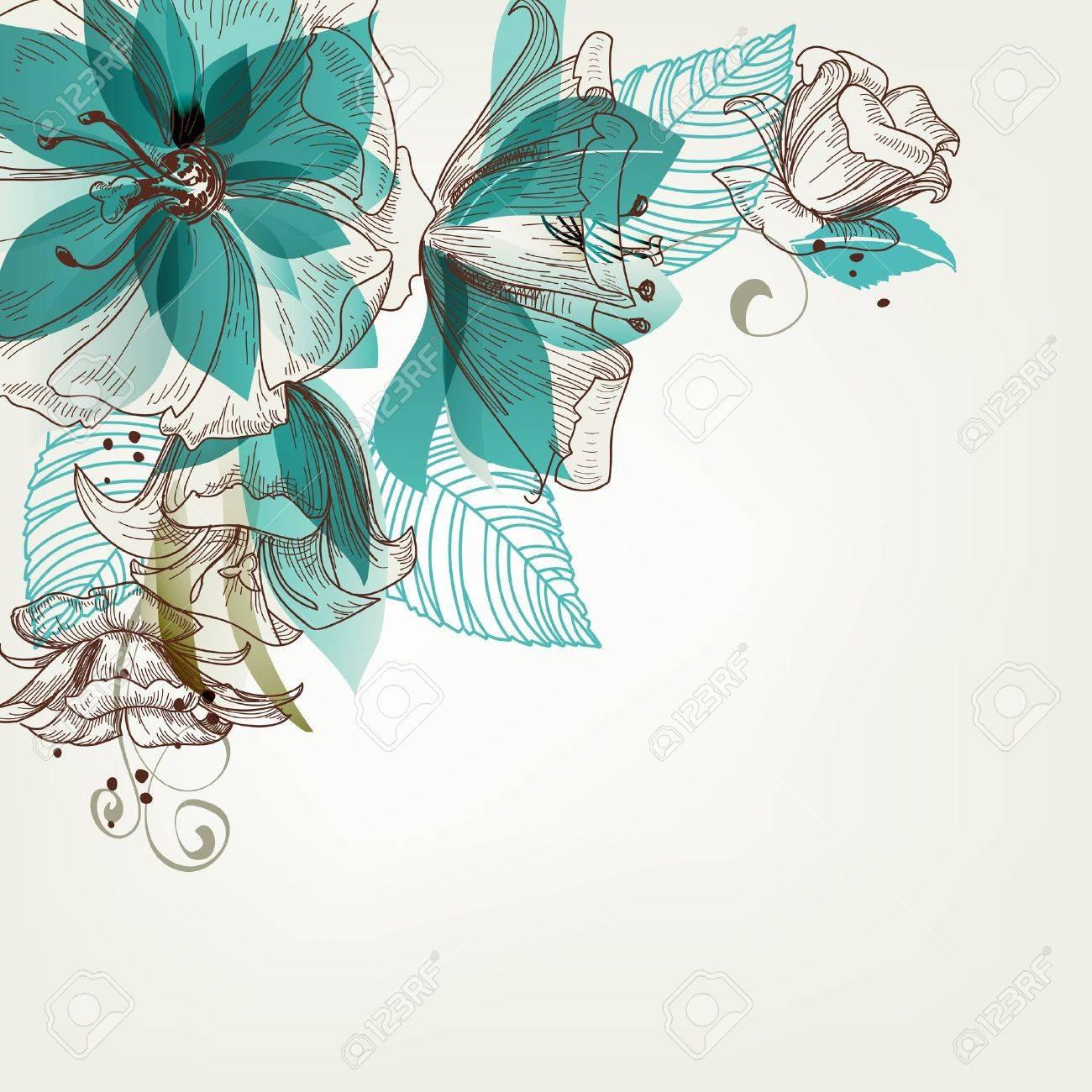 Retro flowers illustration - 15437107