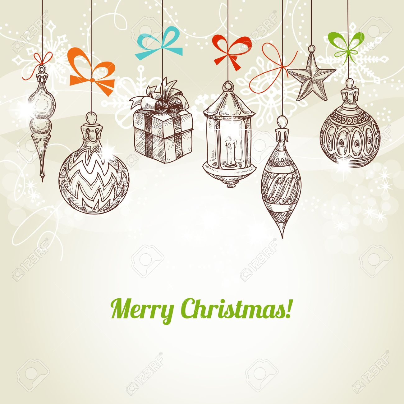 Retro Christmas And New Year Card, Hanging Traditional Ornaments ...