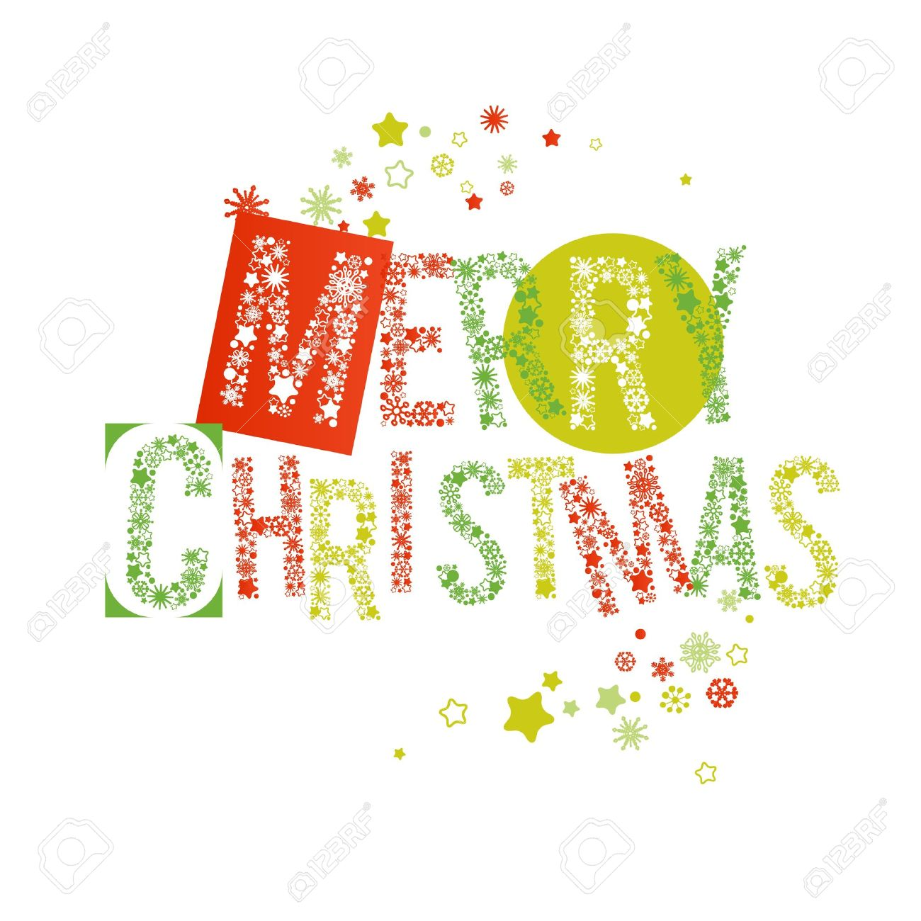 Merry Christmas Text In Red And Green, Letters Made Of Snowflakes ...