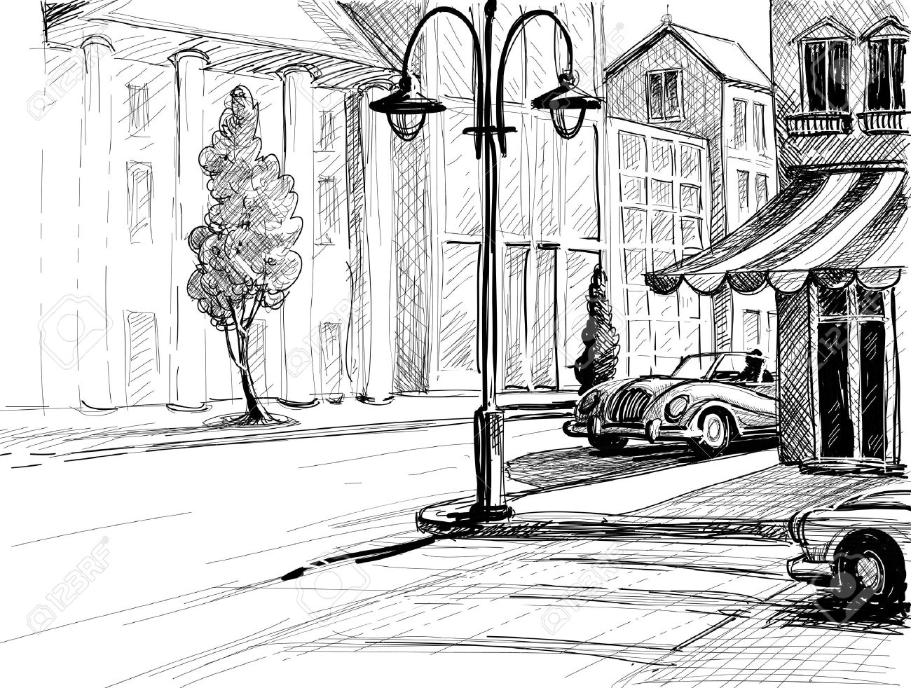 Retro city sketch street buildings and old cars vector illustration