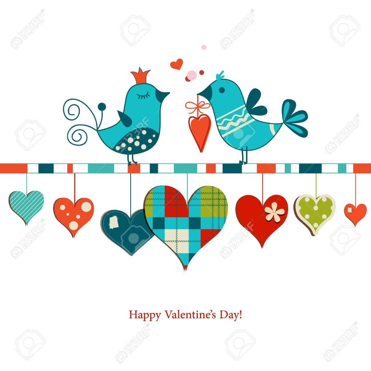 Cute birds sharing love , Valentines day design Stock Vector - 17741370