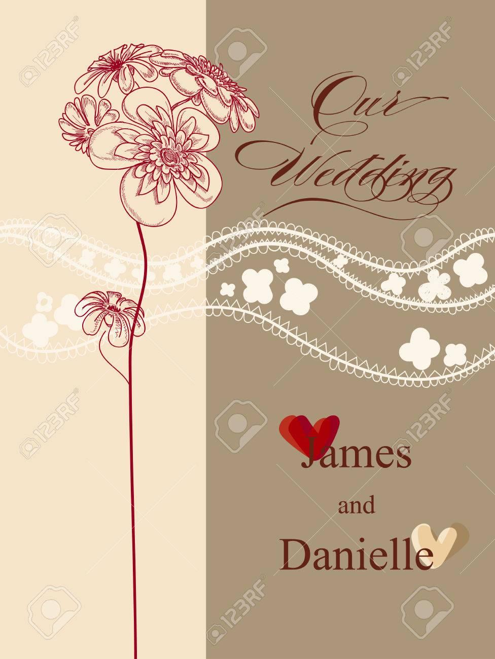 Stylish Wedding Invitation Card Vector File