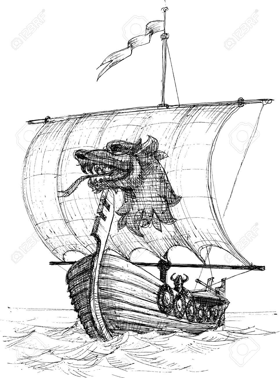 long boat drakkar sketch royalty free cliparts vectors and stock