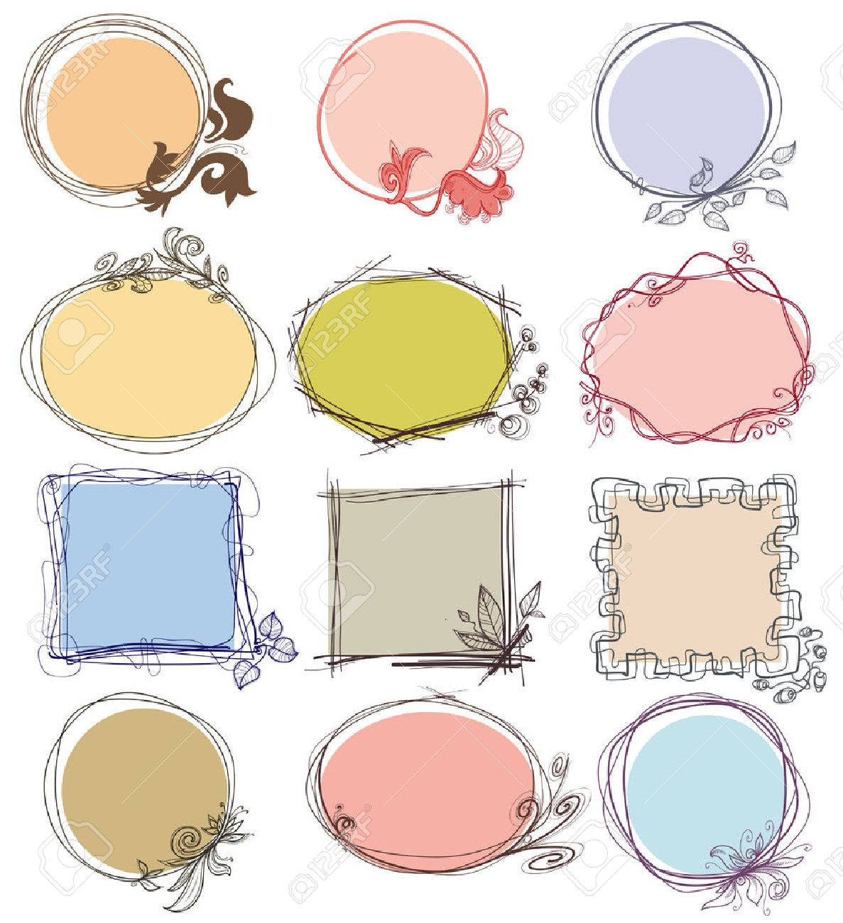 cute decorative frames set place for text stock vector 30017260 - Decorative Frames