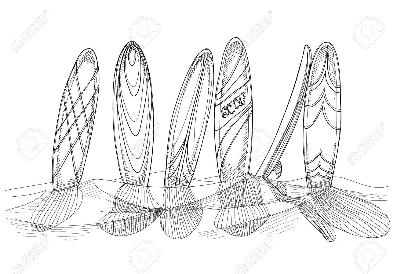 banque dimages planches de surf dans le sable croquis
