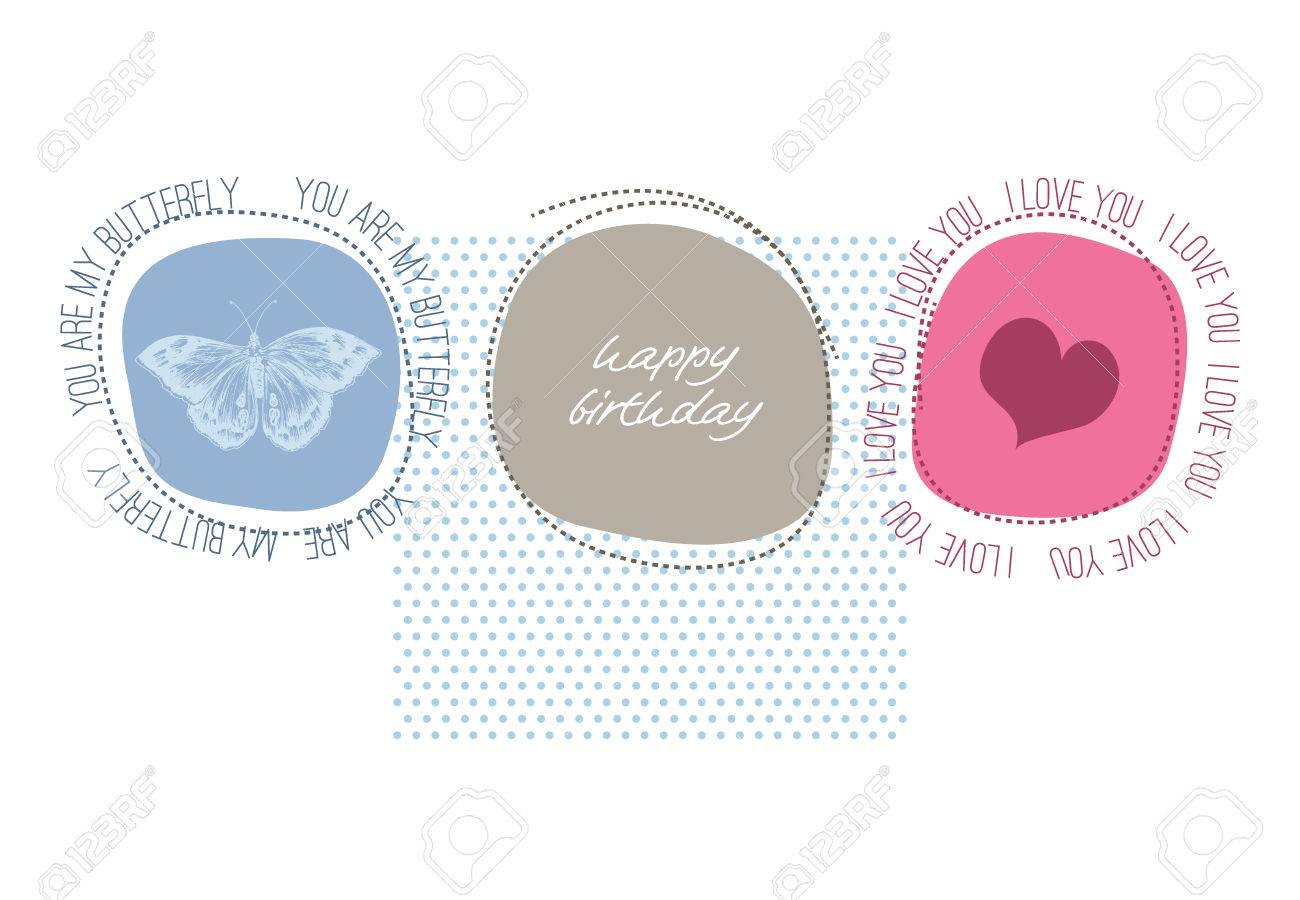 Cute Happy Birthday Card With Love Message Stock Vector