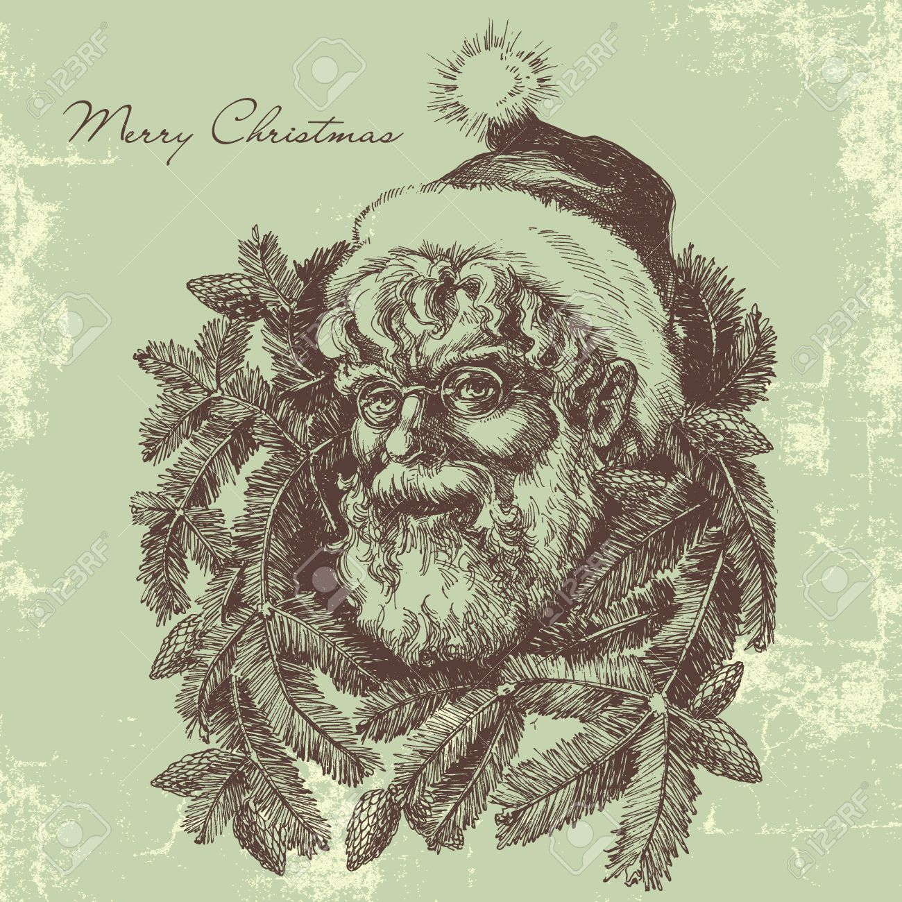 Vintage Santa Claus Sketch Portrait, Christmas Card In Old Fashioned ...