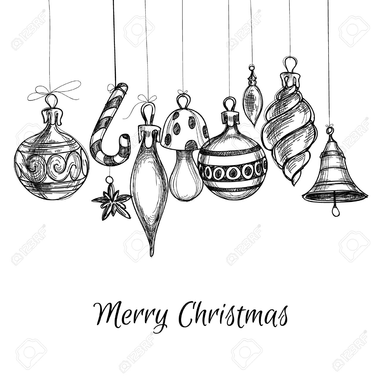 Black and white ornaments - Black And White Christmas Hand Drawn Ornaments Stock Vector 33102226