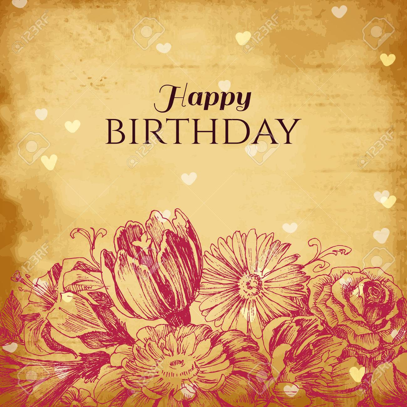 Verjaardagspost voor Marjolijn 37140470-Vintage-floral-background-birthday-card-Stock-Photo