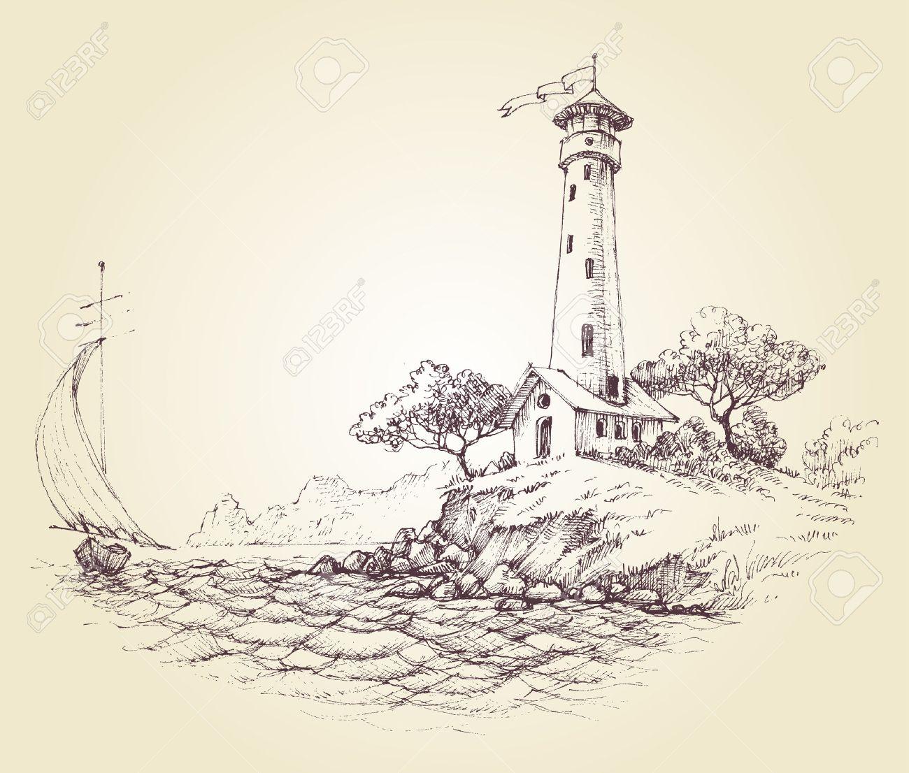 phare dessin Phare de dessin vectoriel paysage marin et de voilier en mer