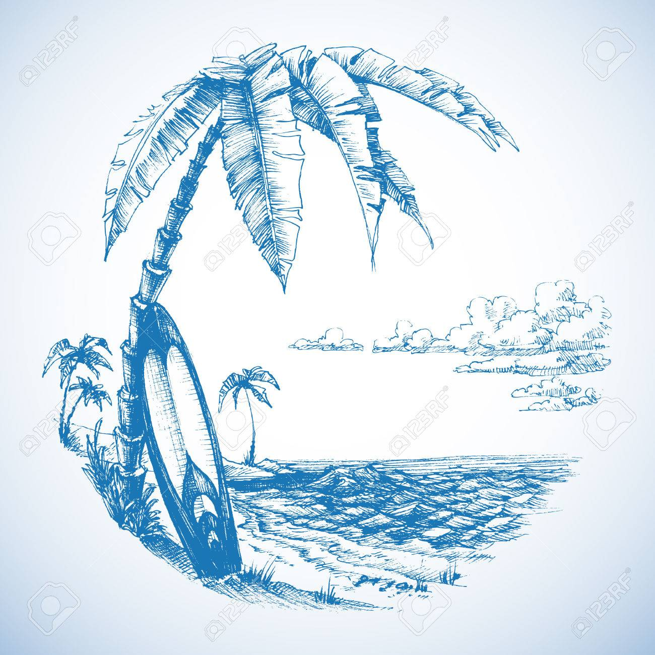 Surfing background, palm trees and sea view - 40929172