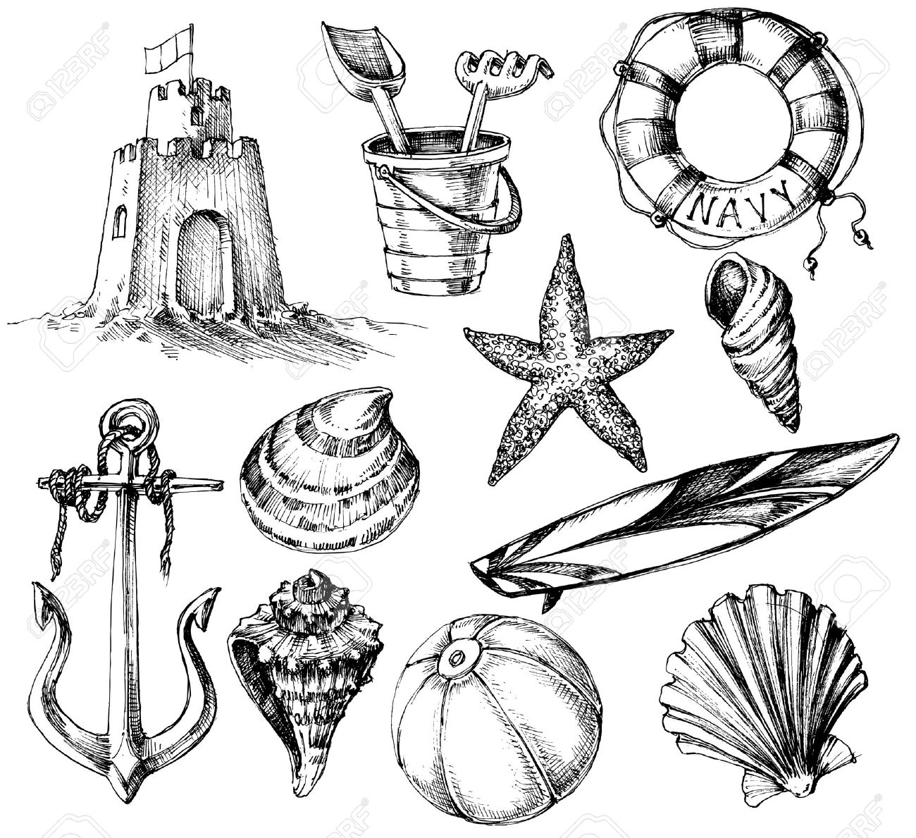 Uncategorized Drawings Of Summer summer collection marine life and beach toys drawings royalty stock vector 43124895