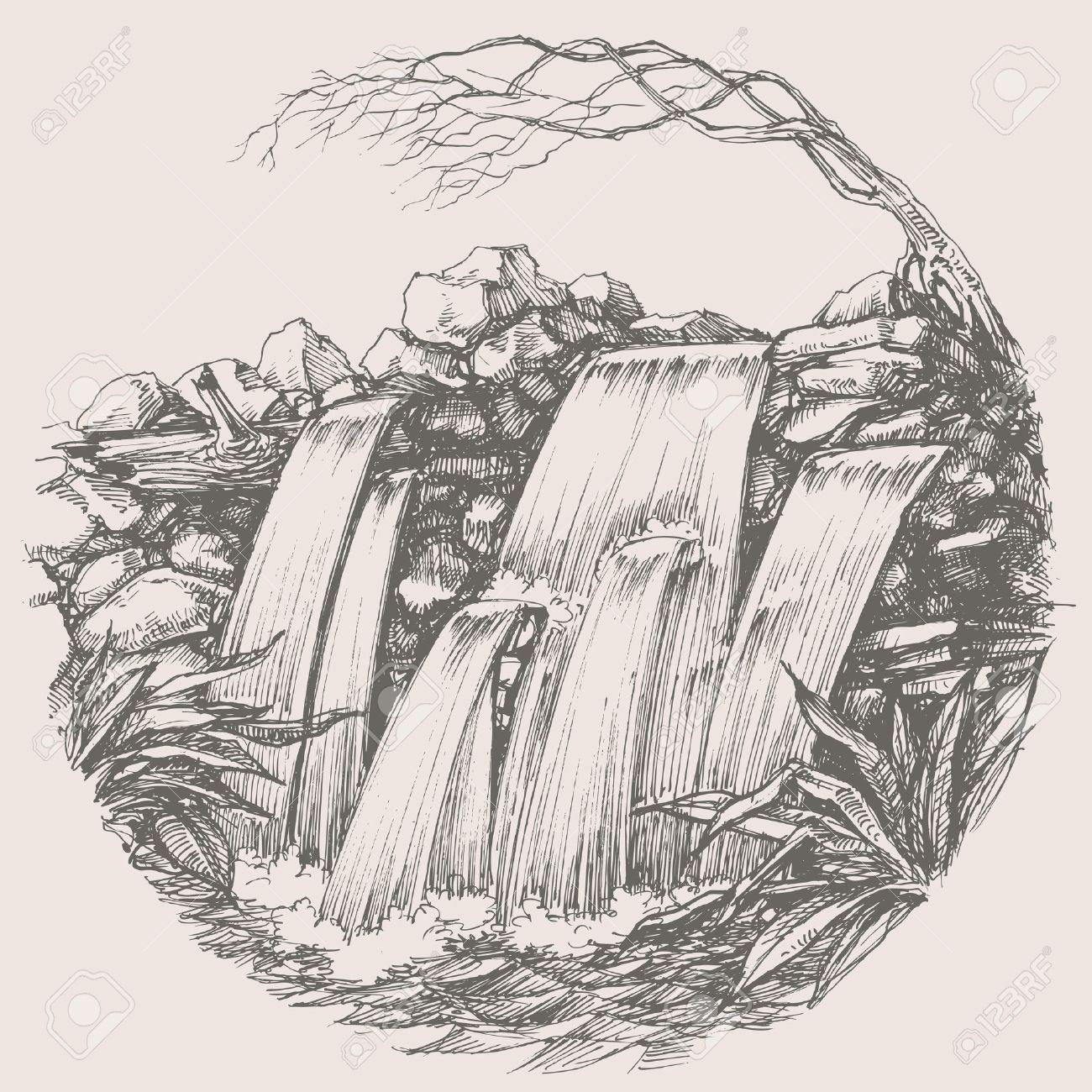 Waterfall round drawing - 43125003