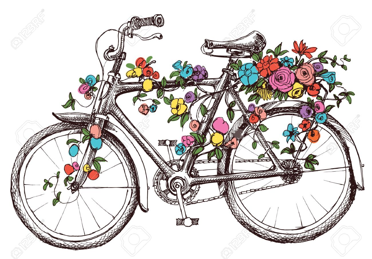 Bike with flowers design element for wedding invitations or bike with flowers design element for wedding invitations or bridal shower stock vector 46666322 filmwisefo