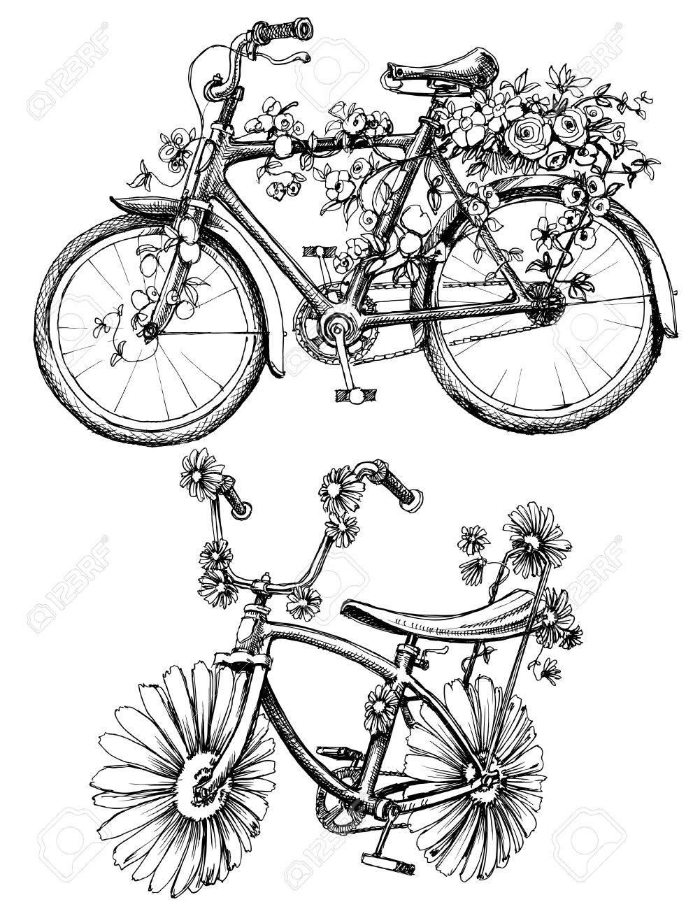 Floral bikes drawing set - 46666324