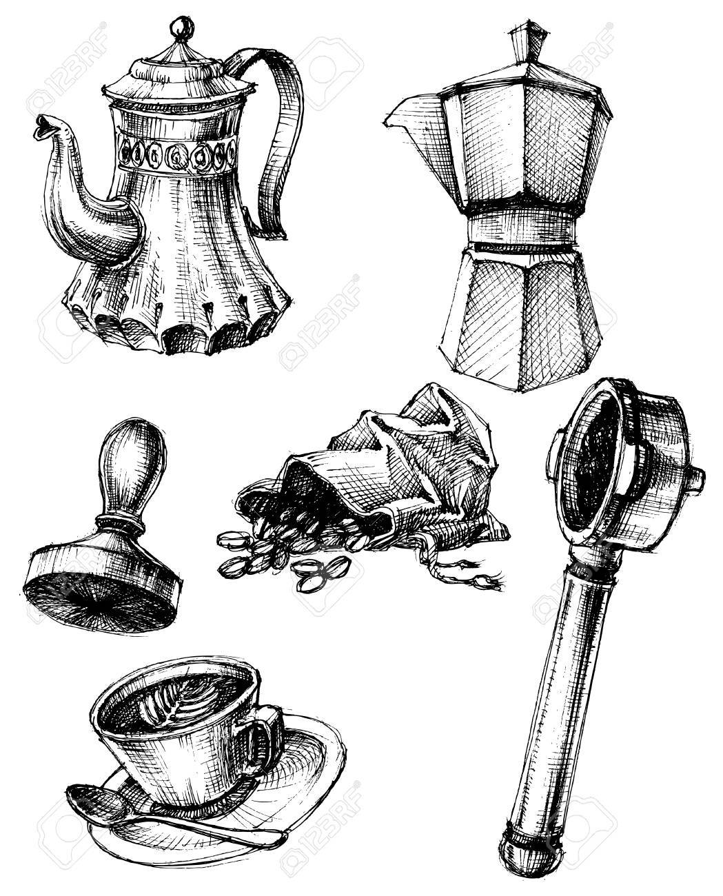 Coffee and coffee making set, retro style - 46666327