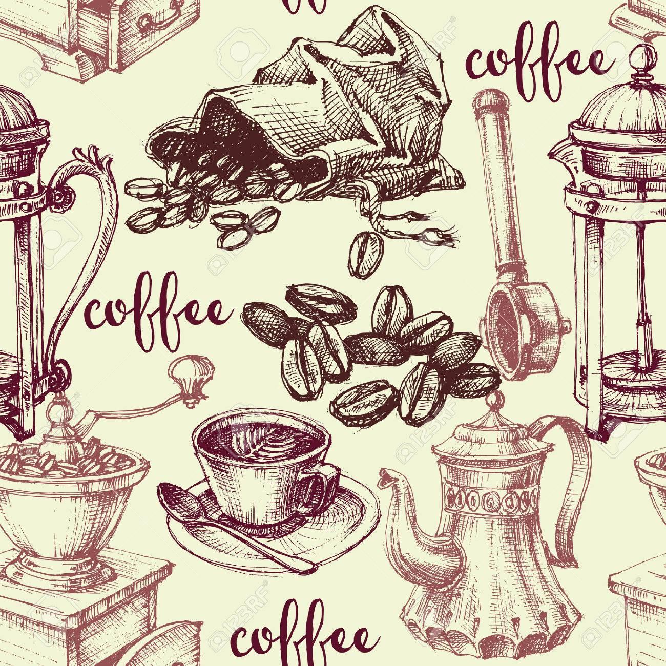 Vintage coffee seamless pattern - 46666328