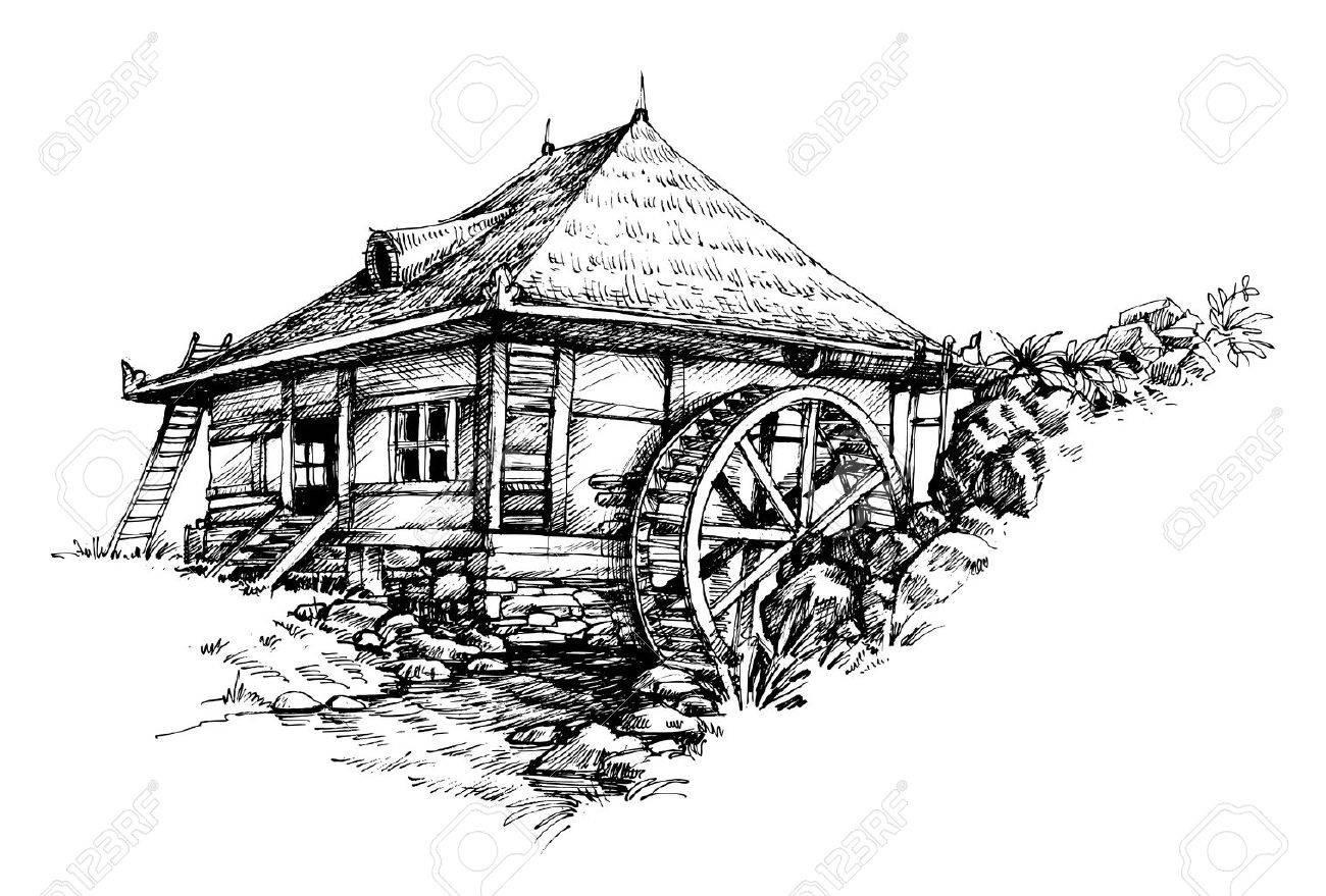 Watermill hand drawn artistic illustration - 46666332