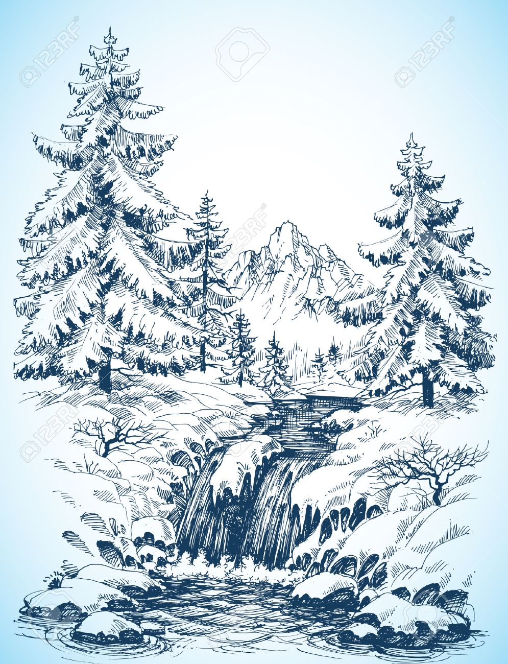 Winter snowy landscape, pine forest and river in the mountains drawing - 46666339