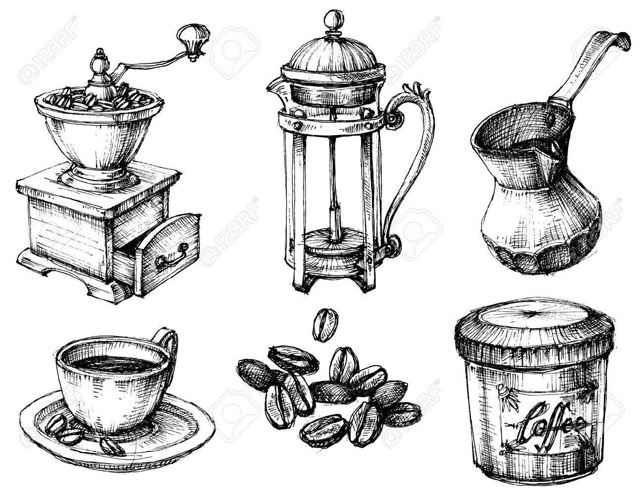 Coffee icons hand drawn set - 46666920