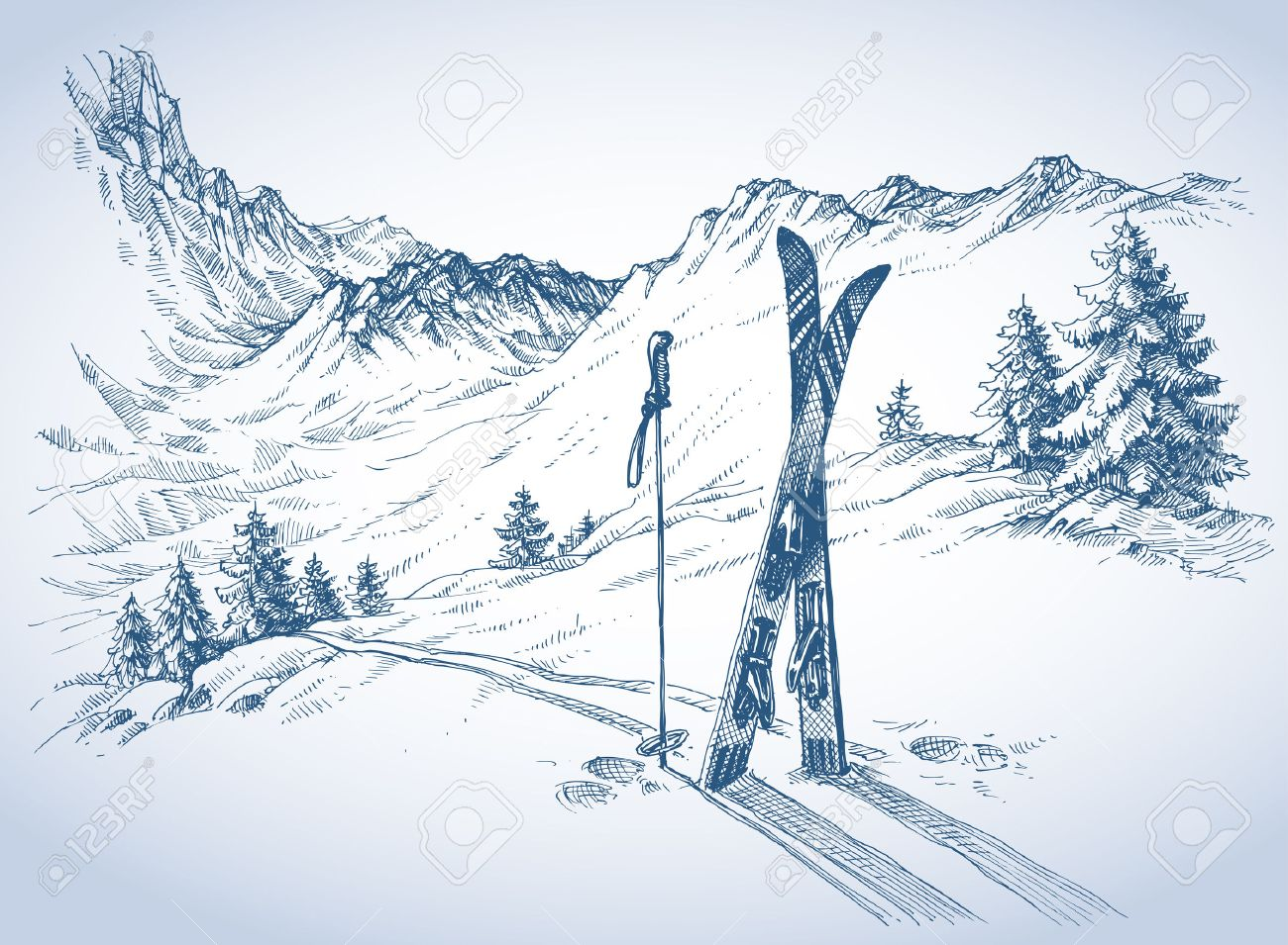 Ski background, mountains in winter season - 46666930