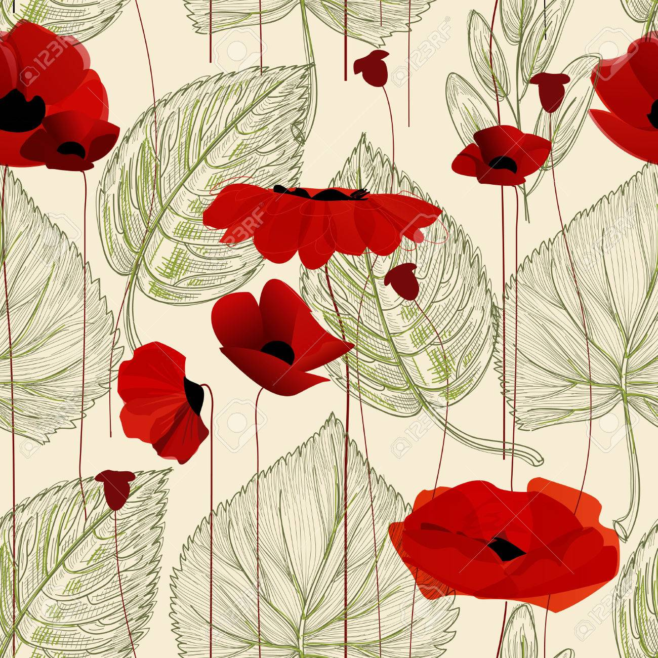 Floral seamless pattern, poppy - 46666934
