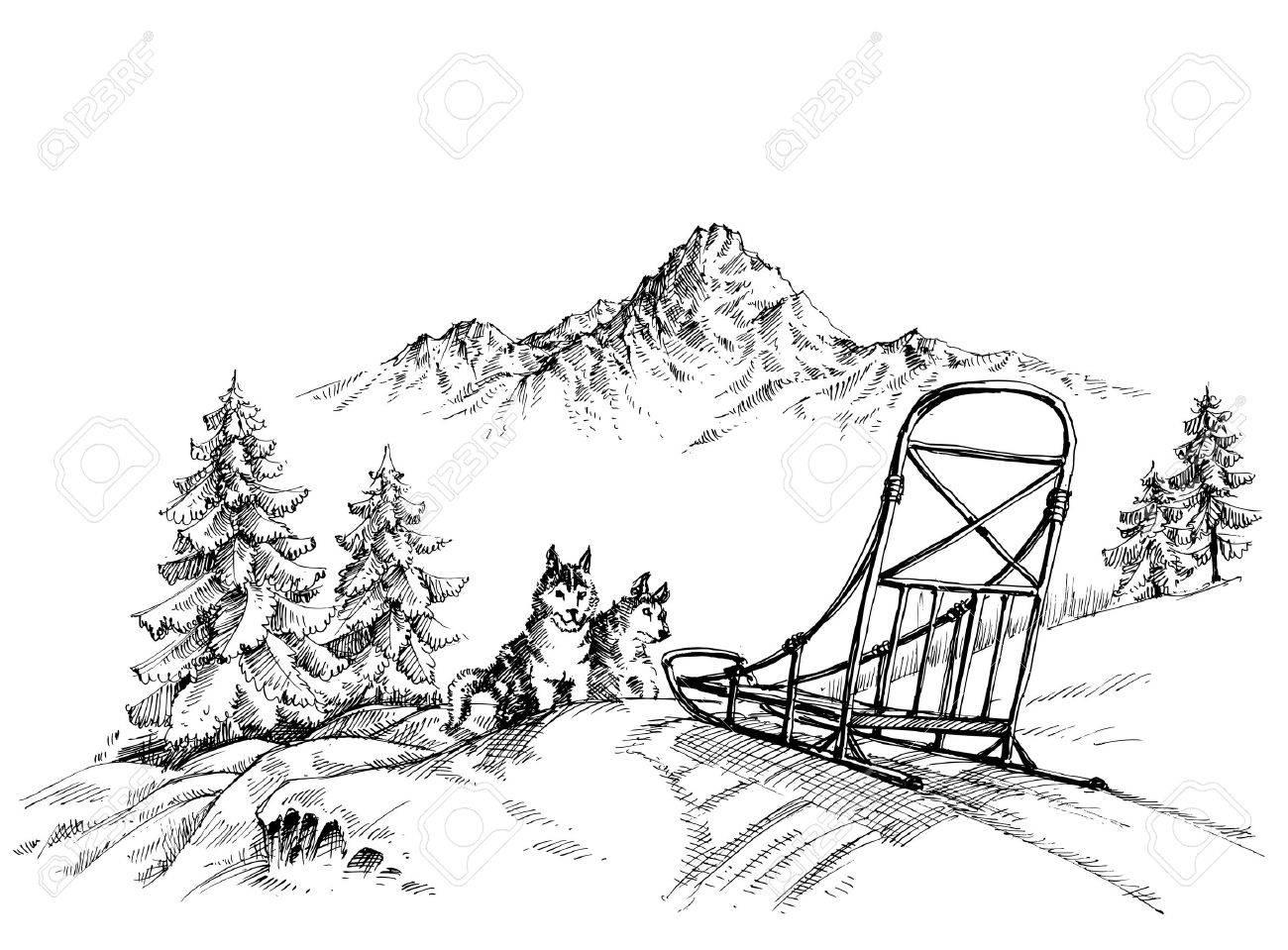 Winter mountain landscape, husky dogs sledding - 46666980