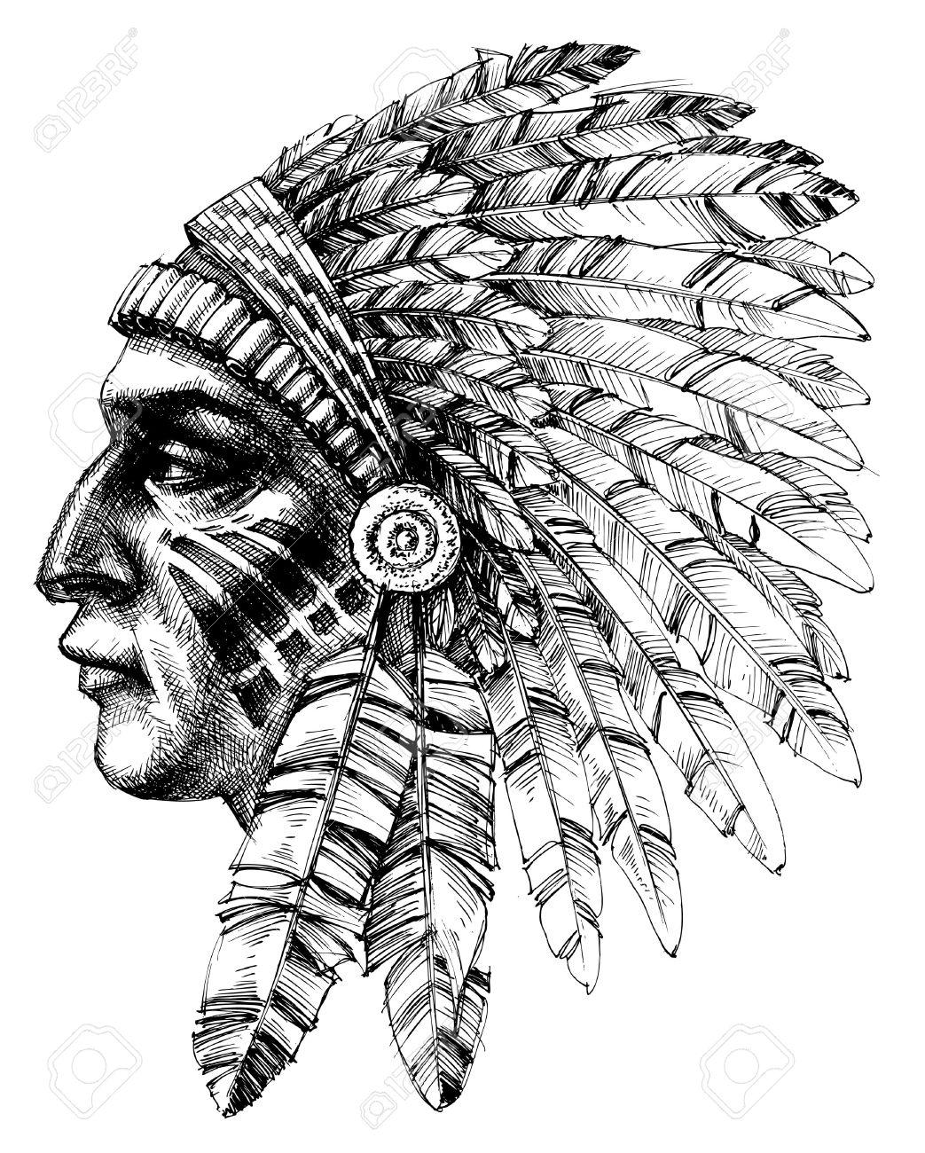 Native american indian warrior profile with war headdress, t-shirt design - 49696602