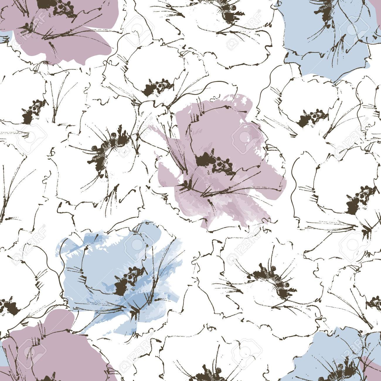 Floral background, flower seamless pattern - 49696837