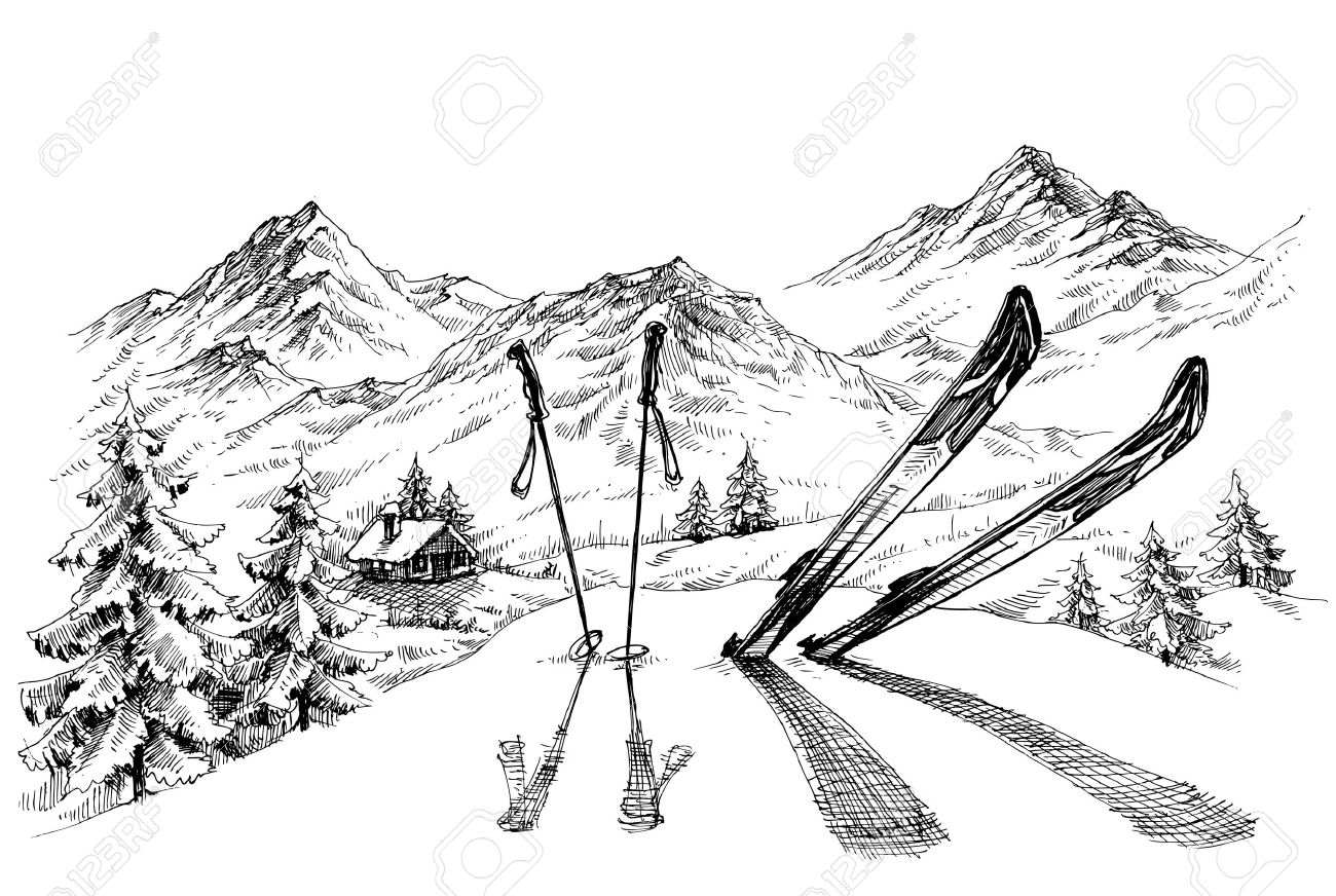 Holidays at ski background, mountains panorama in winter sketch - 49696846