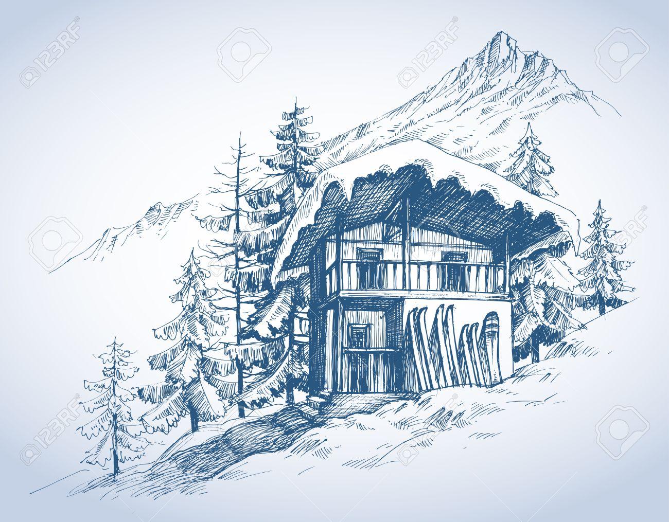 Ski hut in mountains resort - 49696847