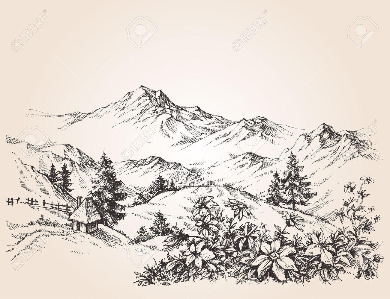 Mountains landscape sketch - 51327199