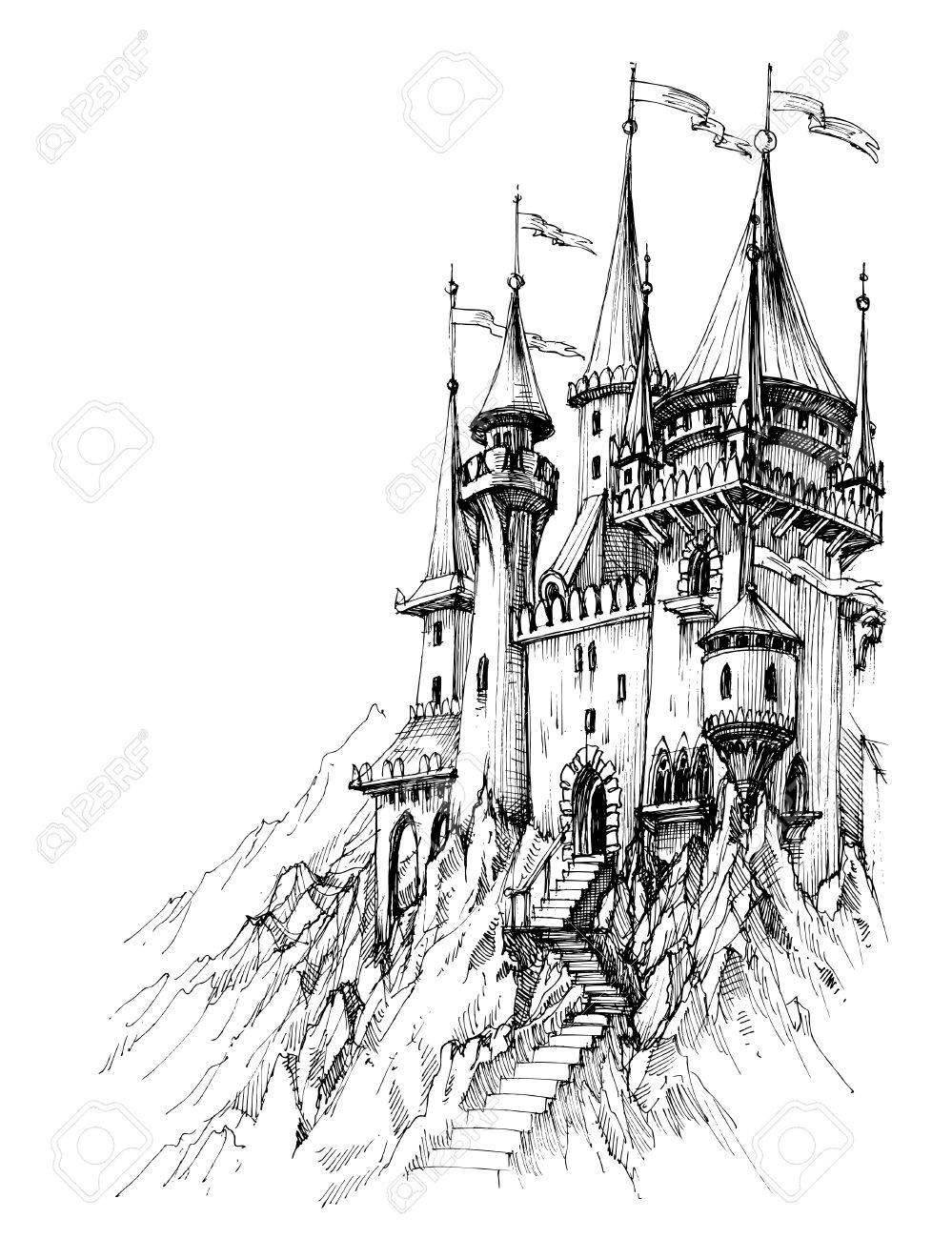 A fairytale castle in mountains - 51327209