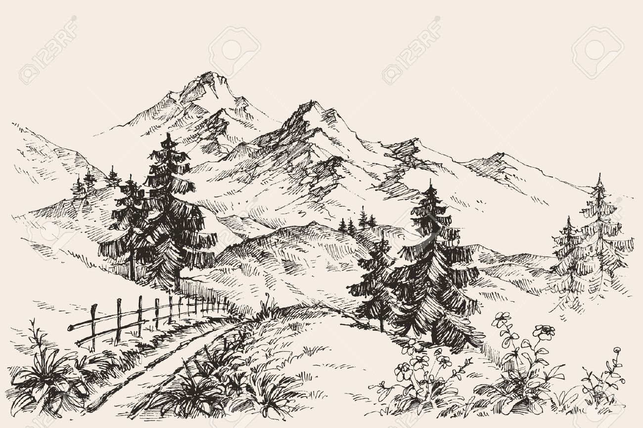 A path in the mountains sketch - 53513232