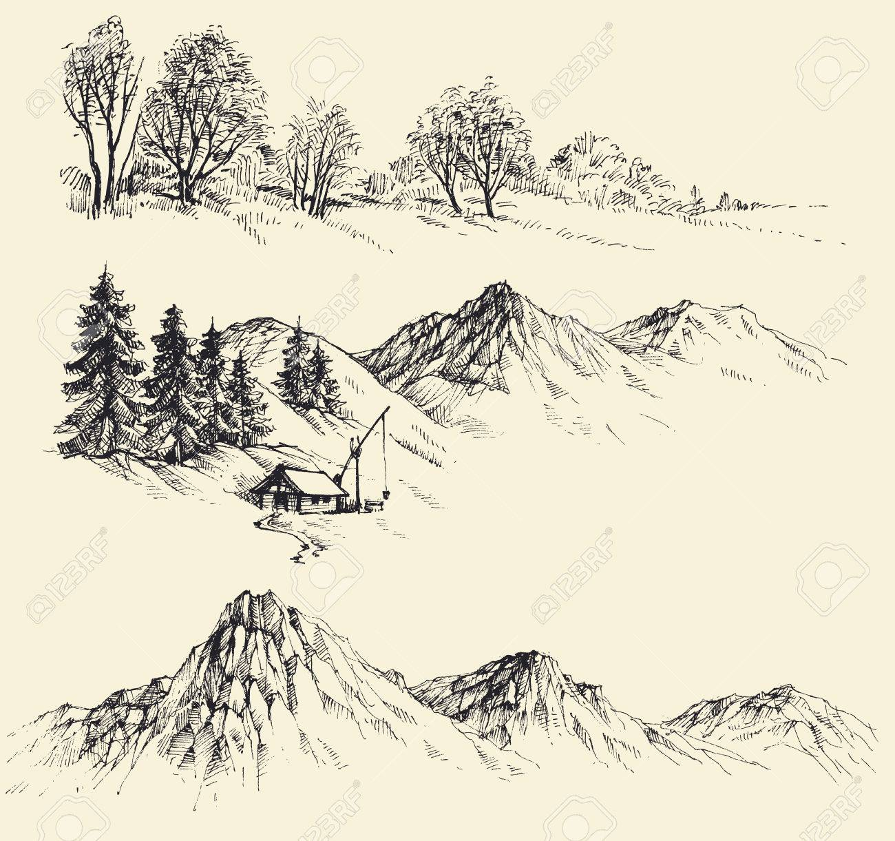 Nature elements set, mountains and forest - 53513235