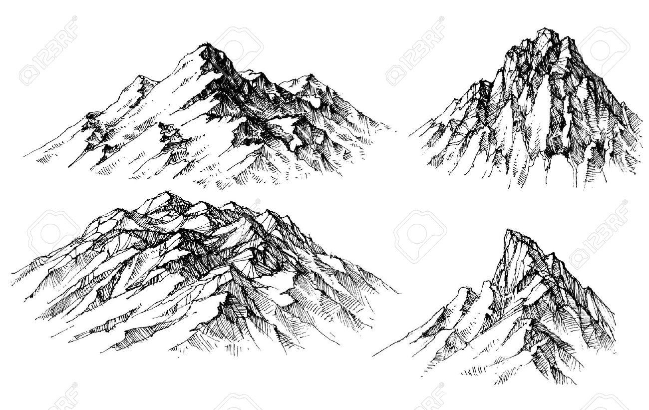Mountain set. Isolated mountain peaks - 53513231