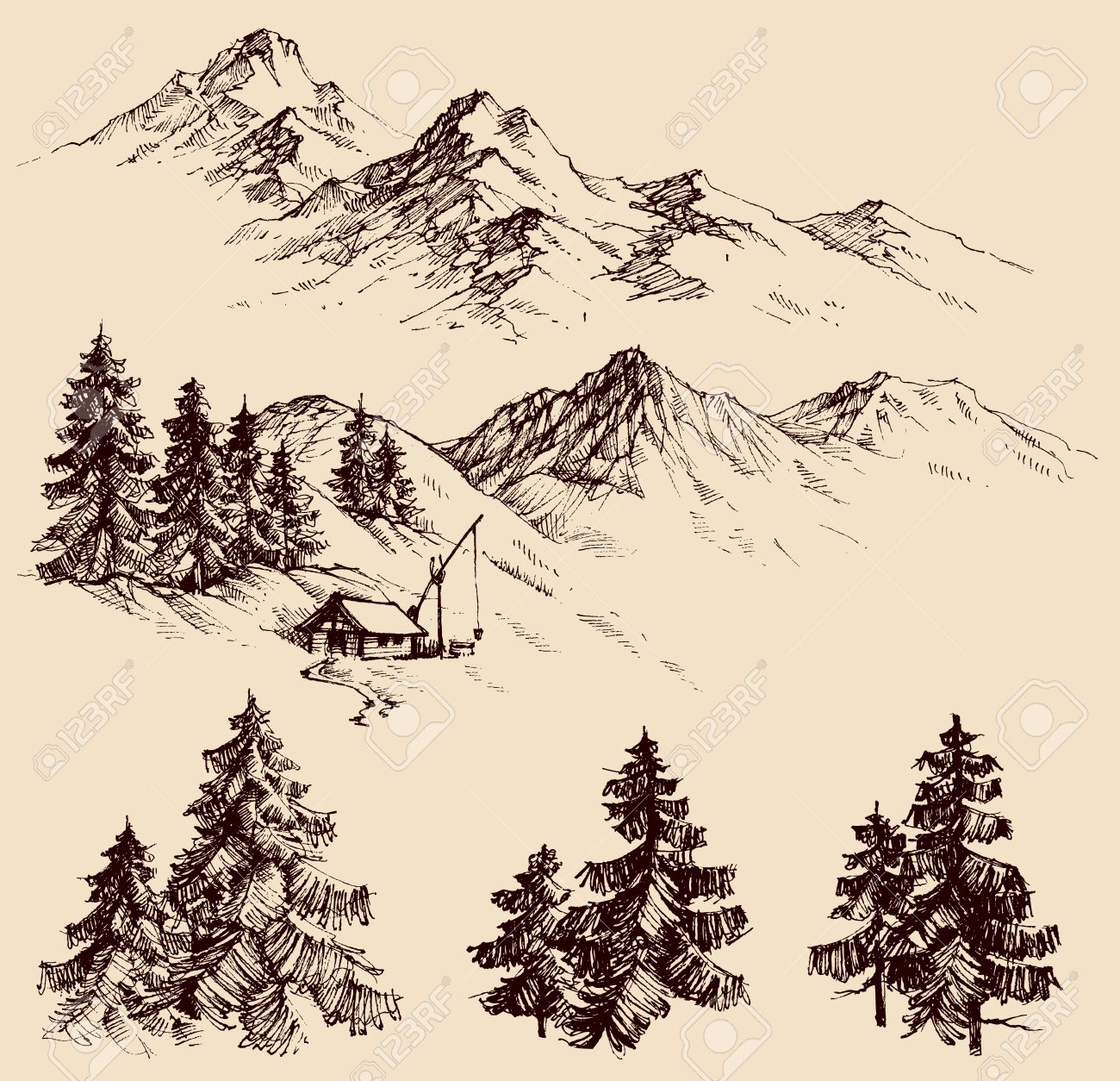 Nature Design Elements Mountains And Pine Trees Sketch Stock Vector