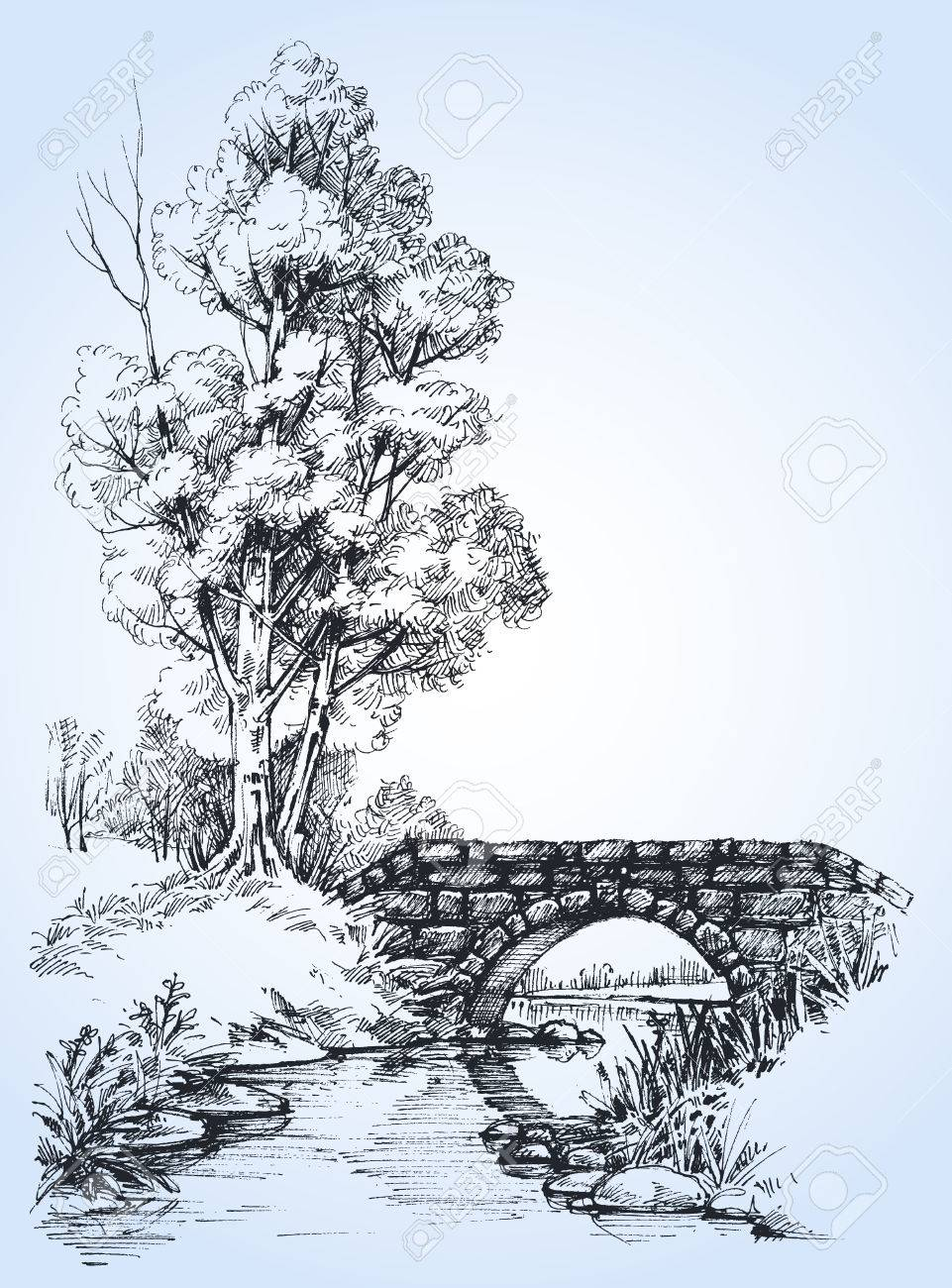 Park sketch, a stone bridge over river in the forest - 55852471