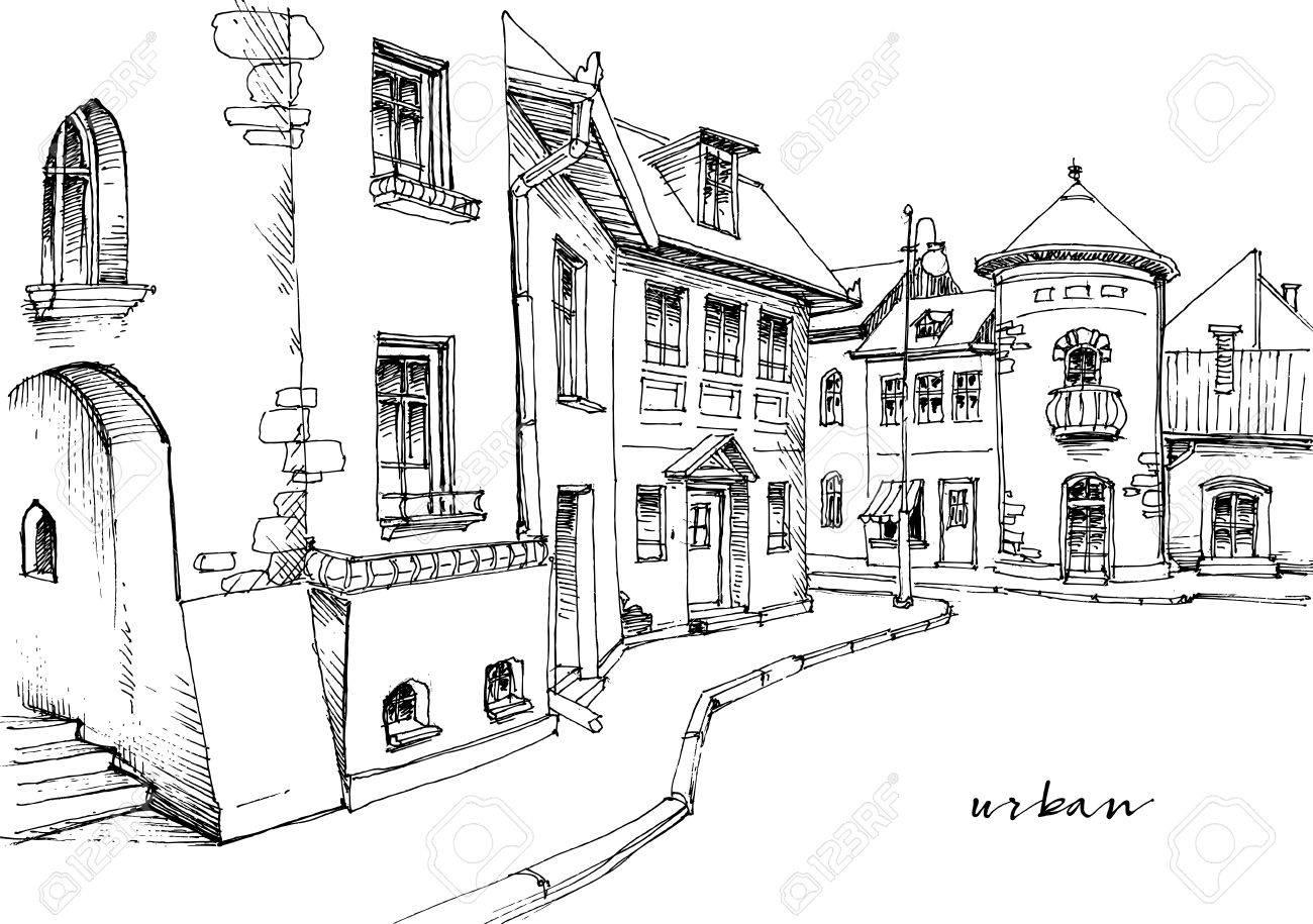 City street sketch - 58689435