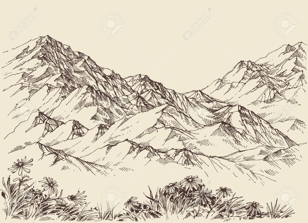 Mountain peaks, altitude landscape - 58689448