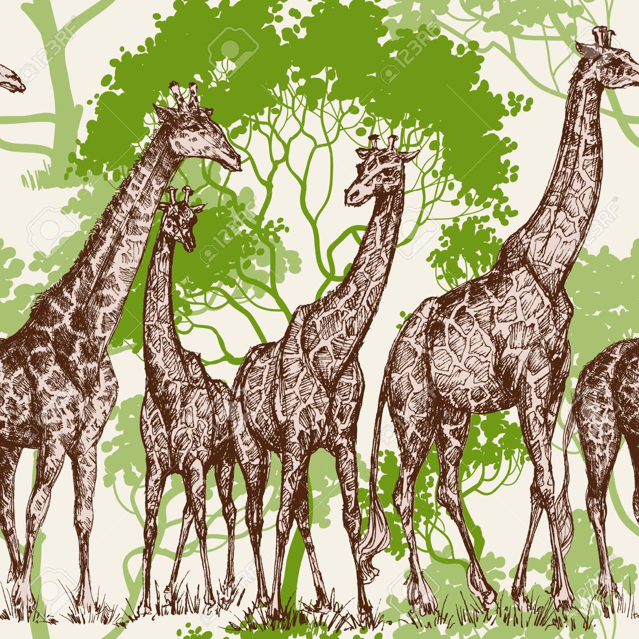 動物のプリント サファリ壁紙 荒野のパターンでキリンのイラスト素材 ベクタ Image