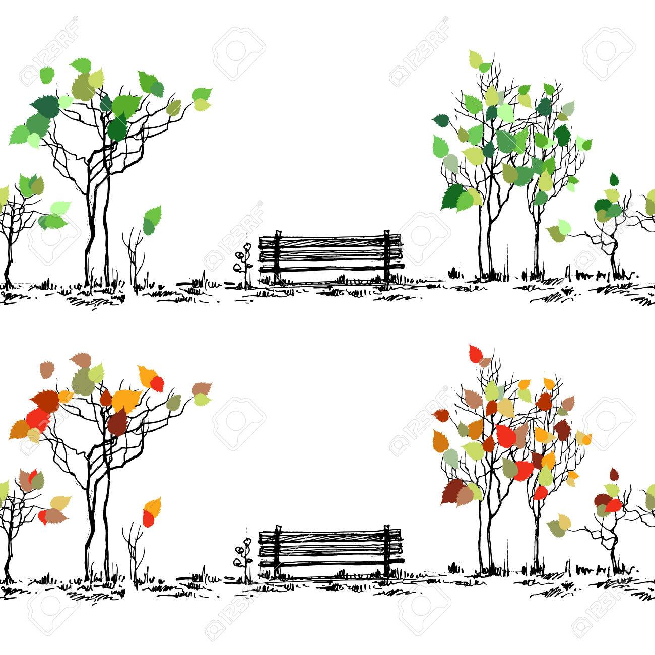 Park sketch. Bench and trees in different seasons - 58689772