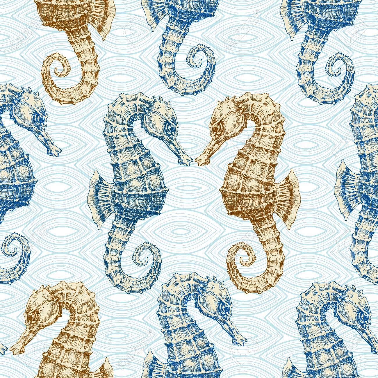 Sea Horse Vector Seamless Pattern Marine Life Print Royalty Free Cliparts Vectors And Stock Illustration Image 58689766