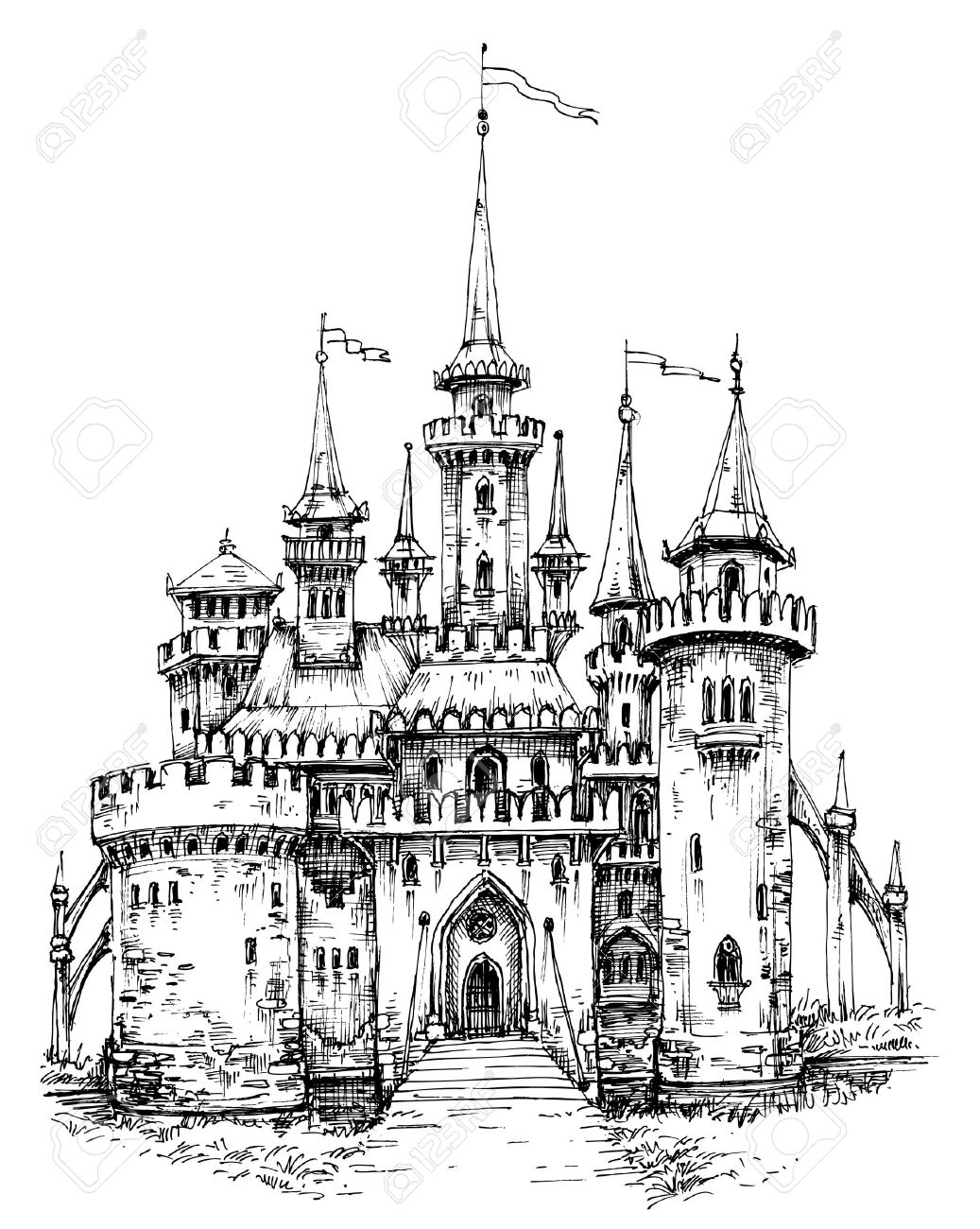 Vector castle front view. Pencil hand drawing, ready to color - 58689776