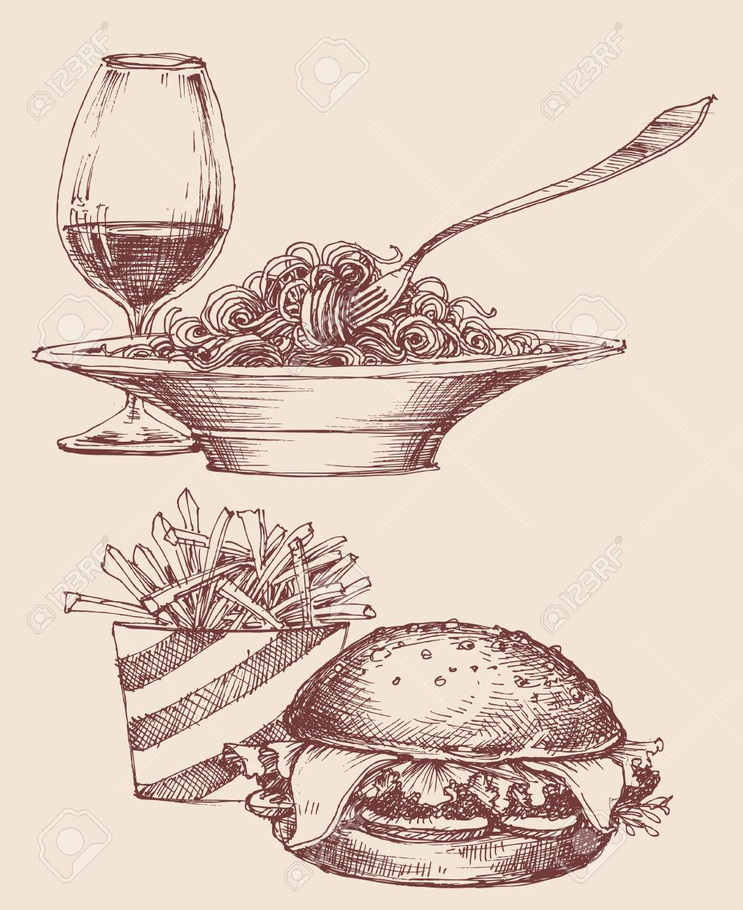 Food vector, fast food burger and fries, pasta and wine - 58650019