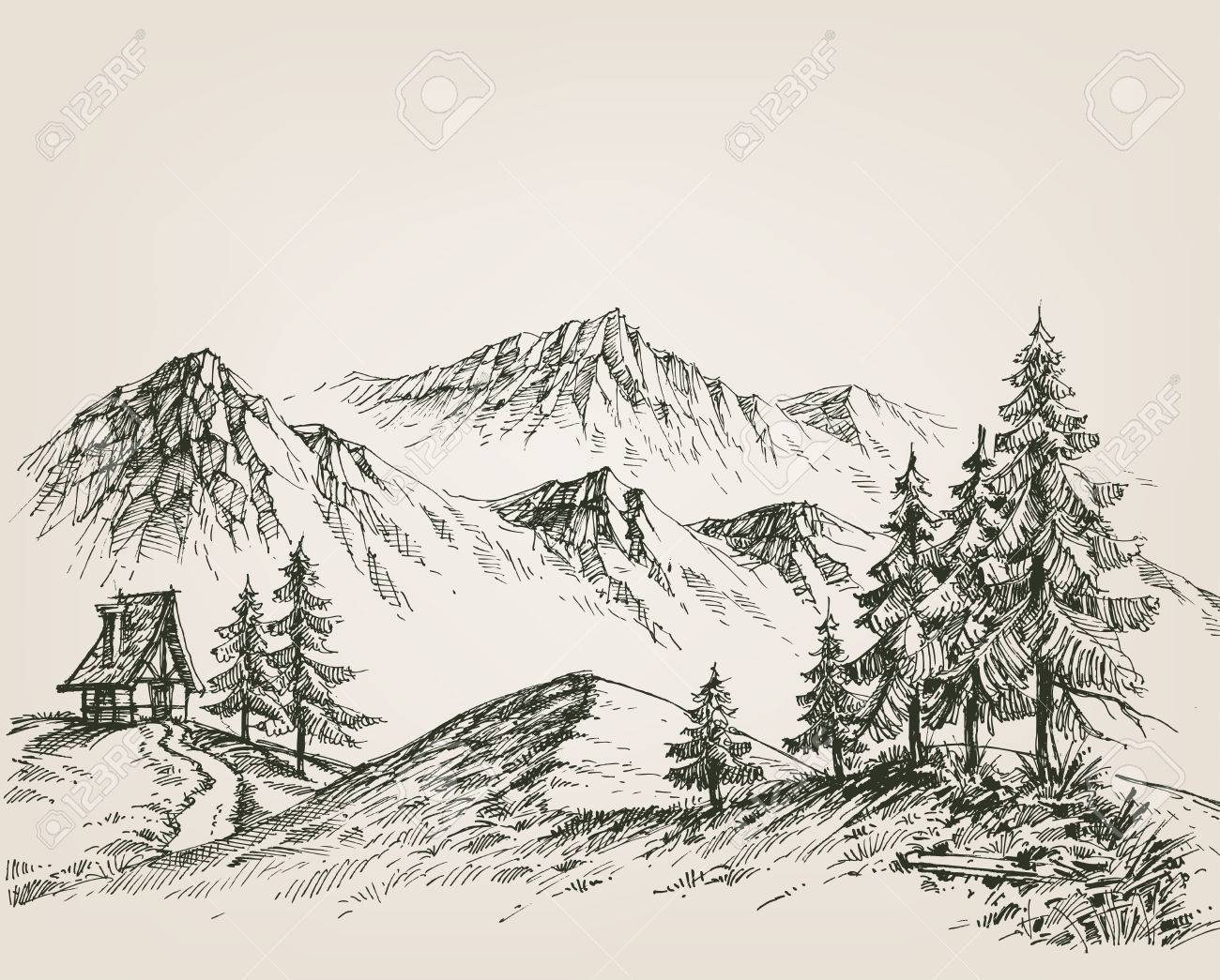 Nature drawing, a hut in the mountains - 58689979